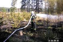 Hasiči v akci. Požár lesa u Červené Řečice likvidovaly dvě jednotky hasičů.