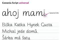Ukázka písma Comenia Script