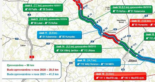 Mapa rekonstruovaných úseků na dálnici D1.