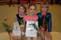 Na snímku jsou zleva bronzová Eliška Hašková, vítězka kategorie starších žákyň Lucie Jiříková a čtrnáctá v pořadí Karolína Zachová.