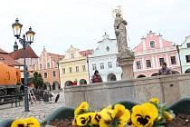 Pracovníci Technických služeb města Pelhřimova včera odkryli kašnu na Masarykově náměstí.