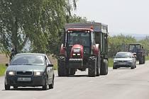 Protesty zemědělců na Pelhřimovsku.