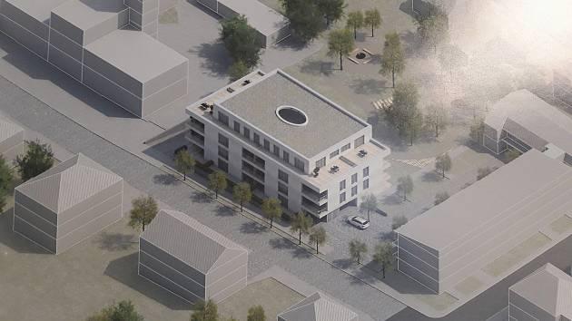 Architektonickou soutěž na návrh bytového domu v humpolecké Hálkově ulici vyhrála pražská společnost OV architekti.