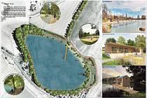 Revitalizace lokality rybníka Stráž dle vizualizace.
