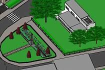 Vizualizace parku na Tyršově náměstí v Humpolci po navrhované obnově.