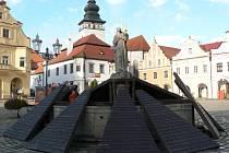 Kašna na pelhřimovském Masarykově náměstí, ilustrační foto.