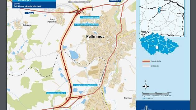 Stavba západního obchvatu Pelhřimova by mohla začít v roce 2024.