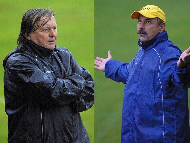 Trenéři proti sobě. Ještě na jaře stáli Jindřich Březina (vlevo) a Tomáš Jansa na střídačce jihlavské juniorky. Nyní koučují týmy krajského přeboru Humpolec a Janovice.