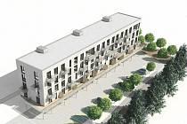 Vizualizace nového bytového domu v Pacově.