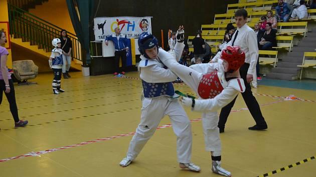 Pelhřimovský Ondřej Janík (v červeném) porazil na turnaji v Rimavské Sobotě dva soupeře.