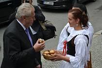 Po příjezdu k České zemědělské akademii si prezident podal ruku s ředitelem školy a ochutnal koláček.
