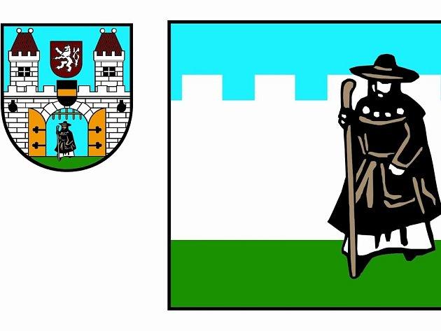 Nová vlajka s tmavěžlutými konturami poutníka a stávající znak.