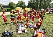 Taktické cvičení integrovaného záchranného systému s názvem Horizont 2018 v Kamenici nad Lipou.