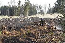 Požár lesa u Roučkovic.