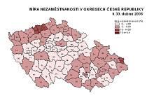 Míra nezaměstnanosti v okresech České republiky k 30. dubnu 2008