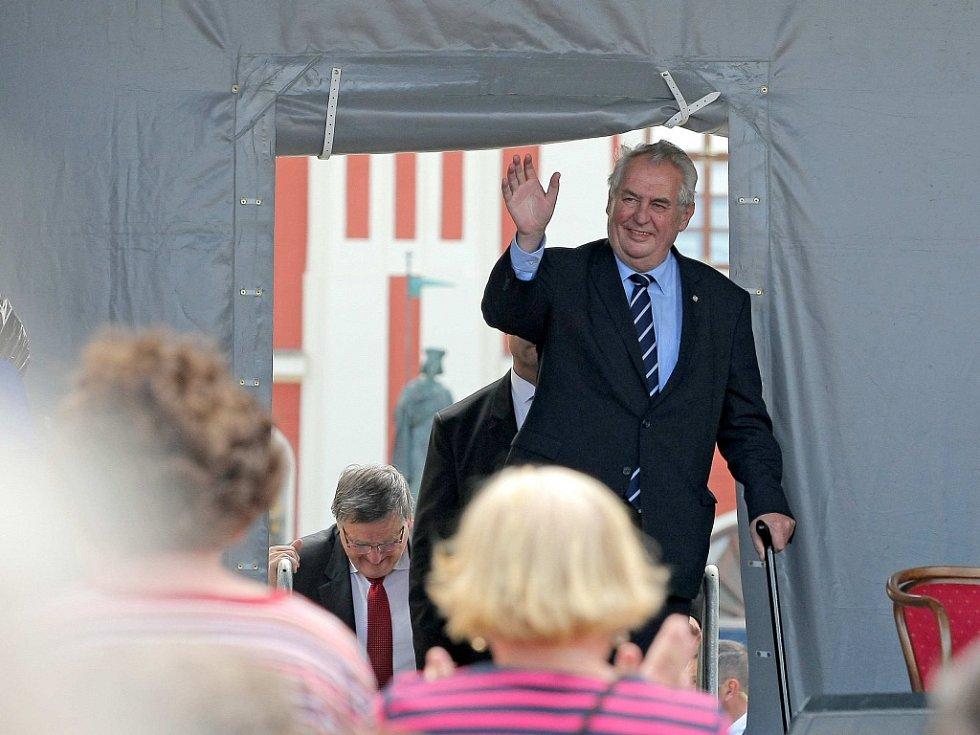 Prezident Miloš Zeman na pelhřimovském náměstí