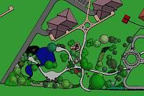 """Park vedle dopravního hřiště za nemocnicí obsáhne jezírko s rybami, druhy keřů, které kvetou i v zimě a mimo jiné i menší lanové centrum. Do budoucna se v """"horní části"""" počítá s obytnou zónou"""