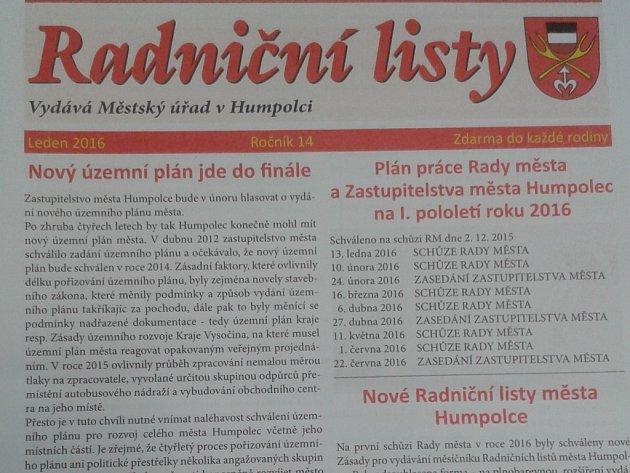 Humpolecké Radniční listy.