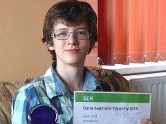 Za úspěchy v uplynulém školním roce ocenil Aleše Krčila (na snímku) hejtman Kraje Vysočina.