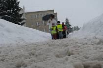 Sněhová situace v Pelhřimově.