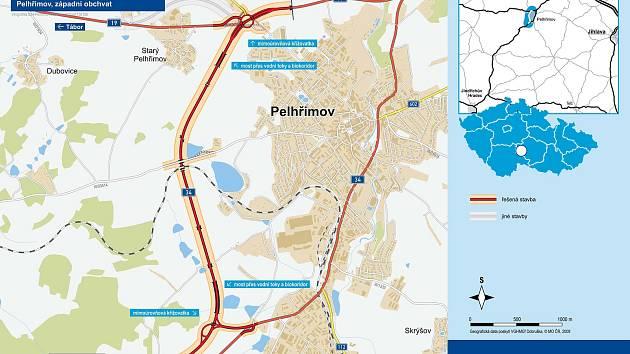 Západní obchvat Pelhřimova.