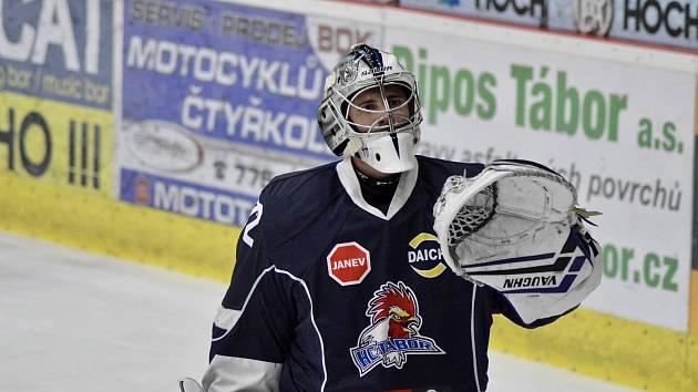 Hokejový brankář Michal Novák.