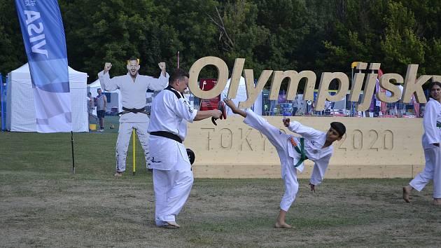 Petr Lacek (vlevo) tráví momentálně ukázkami svého sportu i dvanáct hodin denně. Děti na festivalu i sebe se snaží dostat do stínu. Foto: se souhlasem Petra Lacka