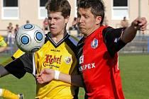 Fotbalisté Humpolce v neděli přivítají Okříšky. Zda získají tři body, bude hodně záležet i na tom, jestli se střelecky prosadí David Holoubek (vpravo).