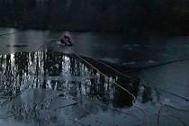 Zvíře uvízlo asi deset metrů od břehu rybníka u Bratřic.