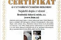 Brněnská tisková misie dostala certifikát o vytvoření nového rekordu.