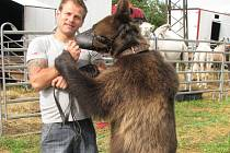 Medvědice Lady (na snímku s principálem Jiřím Berouskem). V Cirkusu Berousek, který přijel do Pelhřimova osedlá i motorku