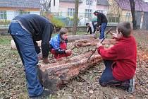 Zahrada senožatského dětského domova je ve stádiu rozpracovanosti.  Na úpravách se podílely i děti.