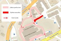 Mapka omezení v areálu Nemocnice Pelhřimov.