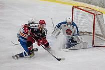 Hokejové utkání mezi HC Lední Medvědi Pelhřimov a OLH Spartak Soběslav.