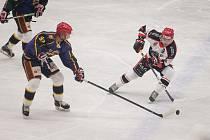 Hokejové utkání prvního kola Krajské ligy mezi HC Lední Medvědi Pelhřimov a TJ Jiskra Humpolec.