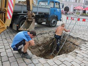 Havárie na pelhřimovském náměstí.