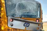 Nehoda vlaku a kamionu u Obrataně.