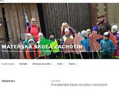 Nové webové stránky Mateřské školy v Zachotíně.