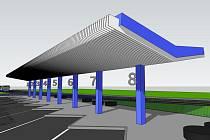 Na snímku je návrh podoby šikmých nástupišť nového autobusového nádraží v Humpolci. Za správní budovou ICOMu pak budou stát dvě výstupní zastávky.