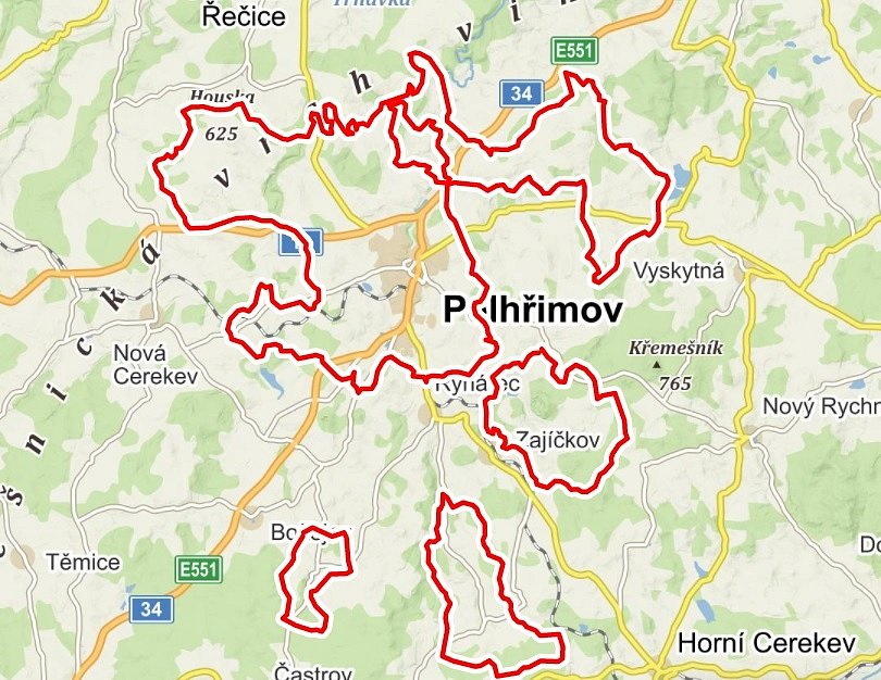 Katastr Pelhřimova.