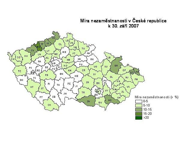 Míra nezaměstnanosti v ČR k 30. září 2007