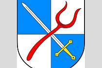 Znak Božejova: V modro-stříbrně čtvrceném štítě je kosmo položen železný meč se zlatým jílcem a záštitou šikmo překřížený červenou vidlí.