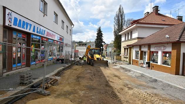 Opravy v Masarykově ulici a části ulice 5.května v Humpolci v roce 2020.
