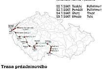 Mapa trasy prázdninového kinematovlaku