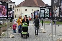Spolek Stop genocidě v pondělí rozmístil u pelhřimovské lékárny svatého Víta petiční výstavu.