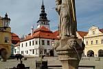 Kašna na pelhřimovském Masarykově náměstí.