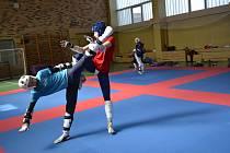 Taekwondista Jan Fiala (vlevo) ladí formu na soustředění v Nymburku.