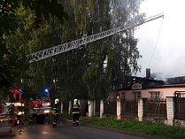 Požár truhlárny v Humpolci.