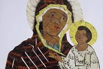 Obraz z motýlích křídel. Madona s Jezulátkem v Muzeu rekordů a kuriozit v Pelhřimově.
