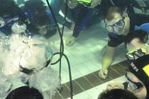 Sportovní potápěči z Pelhřimova se v sobotu připravovali na překonání světového rekordu v počtu osob dýchajících pod vodou po dobu jedné hodiny z jednoho dýchacího přístroje.